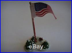 Christmas in the City Village Houses Flagpole 7in with Patriotic US Flag, New