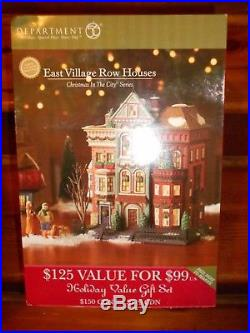 DEPT 56 CHRISTMAS IN THE CITY EAST VILLAGE ROW HOUSES NIB Still Sealed