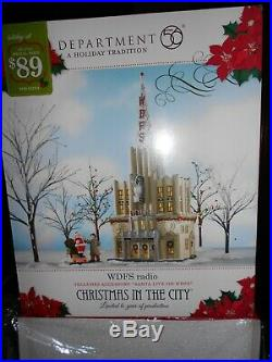 DEPT 56 CHRISTMAS IN THE CITY Village WDFS RADIO NIB