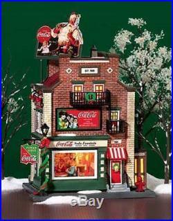Dept 56 Christmas In The City Snow Village Coca Cola Soda Fountain 59221 Retired