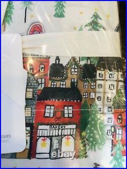 Pottery Barn Christmas In The City Organic Cotton King Sheet Set Bedding