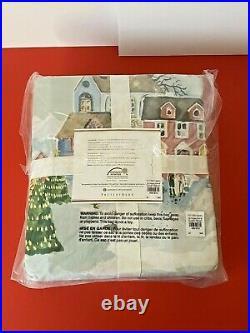 Pottery Barn Snow Village Organic Cotton Queen Sheet Set Bedding Sold Out Sealed
